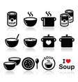 Soup in bowl can and pot - food icon set vector image vector image