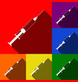 syringe sign set of icons vector image vector image