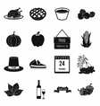Thanksgiving day black simple icons vector image vector image