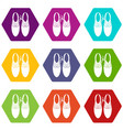 tied laces on shoes joke icon set color hexahedron vector image vector image
