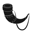 Viking horn icon in black style isolated on white vector image vector image