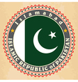 Vintage label cards of Pakistan flag vector image vector image