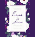 wedding invitation tropical purple violet flowers vector image vector image