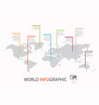 world infographic template map with marker vector image vector image