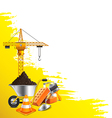 yellow grunge background and construction objects vector image vector image