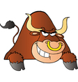 Brown Bull Over A Sign vector image