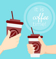 hand holding coffee cup at vector image