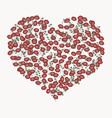 heart with abstract floral ornament vector image