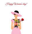 happy womens day greeting card with adorable girl vector image