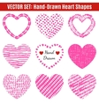 Set of hand-drawn textures heart shapes vector image