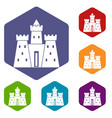 ancient castle palace icons set hexagon vector image vector image