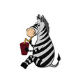 animals of zoo zebra drinking from cup vector image vector image