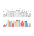 black and color linear modern city view vector image