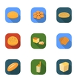 Bread set icons in flat style Big collection of vector image