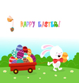 Bunny Delivering Easter Eggs vector image vector image