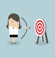 businesswoman with archery bow and target vector image vector image