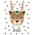 card with tribal cartoon deer vector image