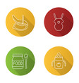 childcare flat linear long shadow icons set vector image vector image