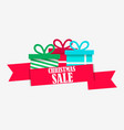 christmas sale banner with gift box on white vector image