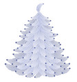 christmas tree made of fluffy feathers isolated on vector image
