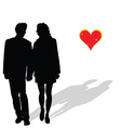 couple in love silhouette vector image vector image