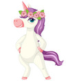 cute purple unicorn wearing flower crown vector image