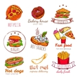 Fast Food Badges Set vector image