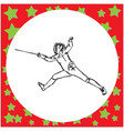 fencing players with sword fighting vector image vector image