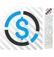 financial diagram flat icon with bonus vector image vector image