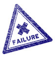 grunge textured failure triangle stamp seal vector image