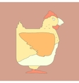 Hand drawn flat square icon chicken isolated on vector image vector image