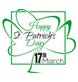 happy st patricks day lettering card vector image