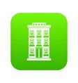 hotel building icon digital green vector image