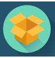 Icon of empty opened cardboard box Flat style vector image