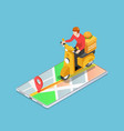 isometric delivery man ride motorcycle on the vector image vector image