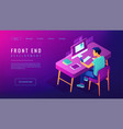 isometric front end development landing page vector image