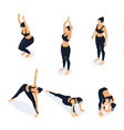 isometric woman in yoga positions isolated on vector image