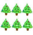 kawaii christmas tree with emotions isolated vector image