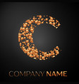letter c logo gold dots alphabet logotype vector image