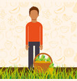 man with basket full pineapple in the grass vector image vector image