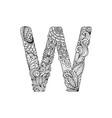 mandala letter w monogram vector image vector image