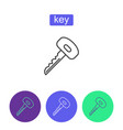 metal key outline icons set vector image vector image
