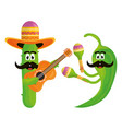 mexican cactus and chilli with hats and guitars vector image vector image