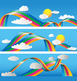 paper effcet cloudscaperainbow and clouds vector image