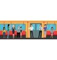 people using smartphone phones in subway train vector image