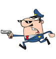 Police Officer Running With A Gun vector image vector image