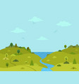 rural hilly landscape with sea and river vector image