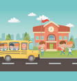 school building and bus with kids in landscape vector image vector image