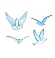series of watercolor drawn birds vector image vector image