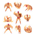 set of professional muscular wrestler in different vector image